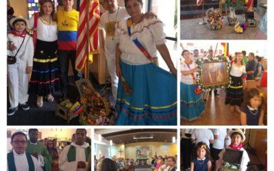 Celebración de la fiesta en homenaje a la Virgen del Santo Rosario de Chiquinquira,Patrona de Los Colombianos .