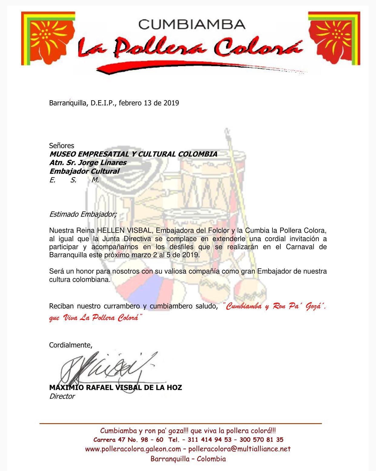 Nuestro Embajador Cultural Jorge Linares,invitado especial Carnaval de Barranquilla 2019