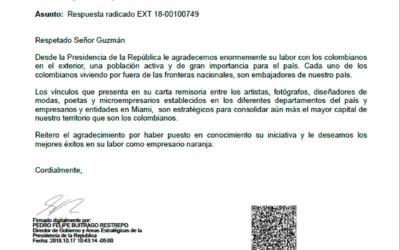 Reconocimiento desde la Presidencia de la Republica de Colombia